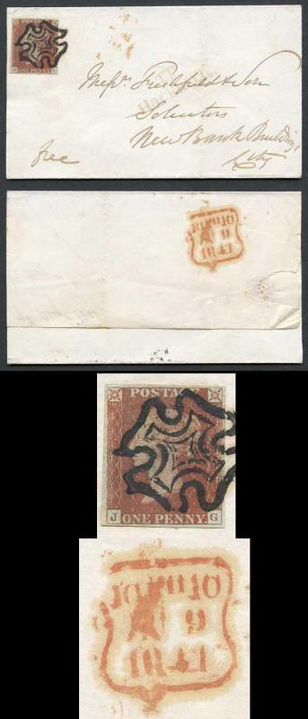 1841 Penny Red (JG) Plate 13 used contrary to regulations on wrapper