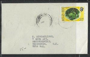 DOMINICA COVER (P1902B) 1976 QEII 20C FRUIT GIRAUDEL TO ENGLAND