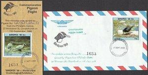 NEW ZEALAND 1988 Birdpex Pigeon flight flimsy + commem cover................L384