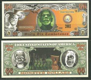 Monster Money Novelty Bill Sheet