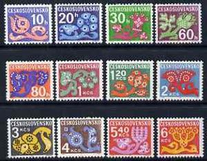 Czechoslovakia 1971 Postage Due set of 12 stylised plants...
