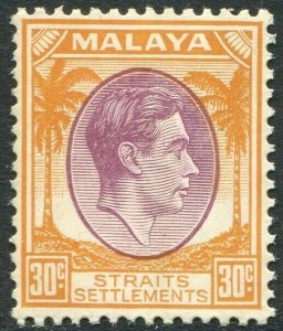 STRAITS SETTLEMENTS-1937 30c Dull Purple & Orange Sg 287 UNMOUNTED MINT V50217