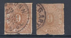 Wurttemberg Sc 51, 51a used 1873 9kr light brown & orange brown Numerals