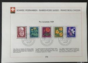Switzerland 1959  #B287-91 PTT Souvenir Page, CV $6.75