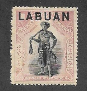 Labuan Scott 72 Mint 1c Dyak Chieftain Overprinted  2015 CV $6.00