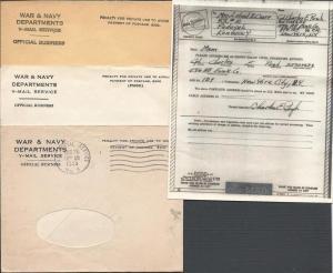 V-Mail, Microfilmed Form Letter, Parachute & Balloon