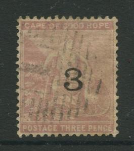Cape of Good Hope -Scott 32 -Hope & Symbols -1880 -Used -Single 3p Stamps