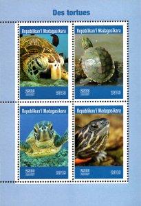 Madagascar 2019 Green Sea Turtle Reptiles 4v MNH S/S. (#029)