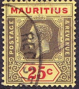 MAURITIUS 1921 KGV 25c Black & Red/Pale Yellow SG199d Used