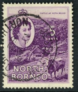 NORTH BORNEO 1954-57 QE2 5c CATTLE Pictorial Sc 265 VFU