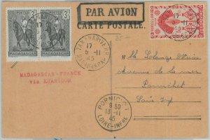 81139 - MADAGASCAR - POSTAL HISTORY - CARD to FRANCE via KHARTOUM  1945