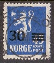 Norway 1927 used  surcharges  30 on 45 ore    #
