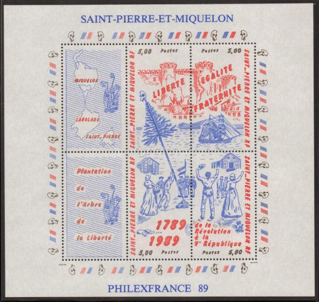 St. Pierre & Miquelon Scott 517 MNH** 1989 Revolution sheet