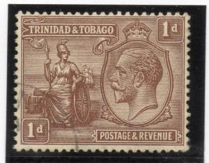 Trinidad & Tobago 1920s Early Issue Fine Used 1d. 033860