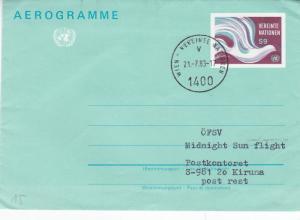 United Nations Vienna 1983 Aerogramme OFSV Midnight Sun Flight VGC