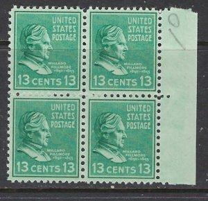 U.S. 818 MNH 1938 Millard Fillmore Block of 4 (ap7242)
