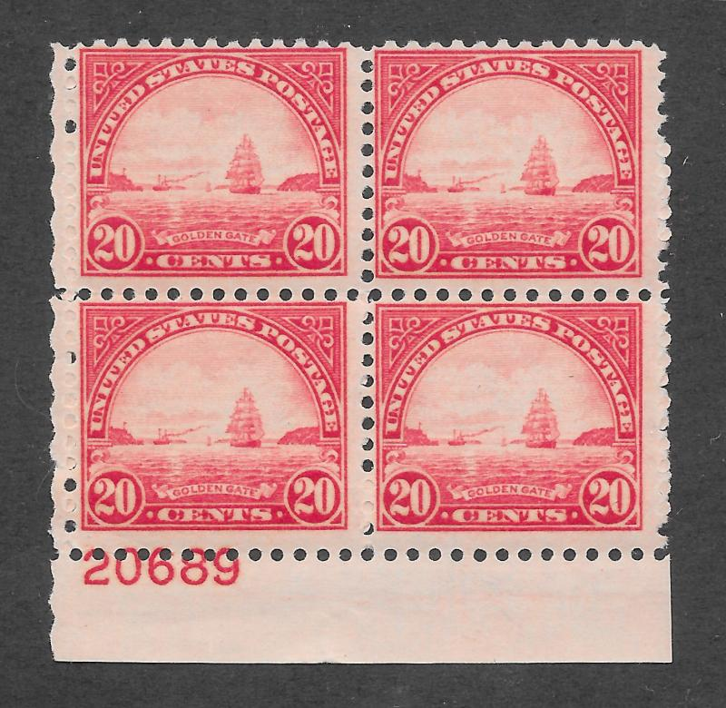 698 MNH, 20c. Golden Gate Plate Block,  scv: $60, Free, Insured Shipping