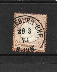 GERMANY  1872  2 1/2g   DEEP BROWN  LARGE SHIELD  FU  SG 21A