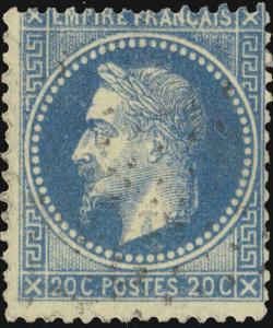 FRANCE - Yv.29A 20c bleu (type 1) obl. étoile