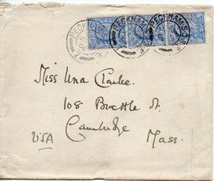 1902 Sg 230 2½d on 1904 Cover from Peckham to Cambridge, Massachusetts