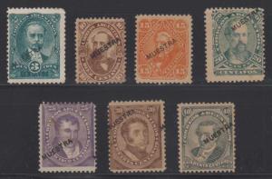 ARGENTINA 1888-90 KIDD Sc 59S-66S OVPTD MUESTRA (SPECIMEN) MINT/UNUSED SCV$210