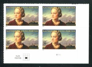4030 Katherine Anne Porter 39¢ Stamp Plate Block MNH