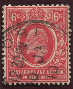 East Africa & Uganda - Scott 33- KEVII Definitive  -1907 - Used- Single 6c Stamp