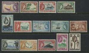 British Solomon Islands QEII 1956 definitives from 1/2d to 10/ mint o.g.