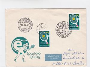 hungary  tennis 1982 special cancels stamps cover ref r16091