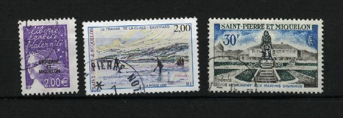 St. Pierre & Miquelon 3 different used  PD
