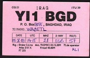 QSL QSO RADIO CARD YI1BGD,Ali Abdul Hadi,Baghdad, Iraq (Q2826)