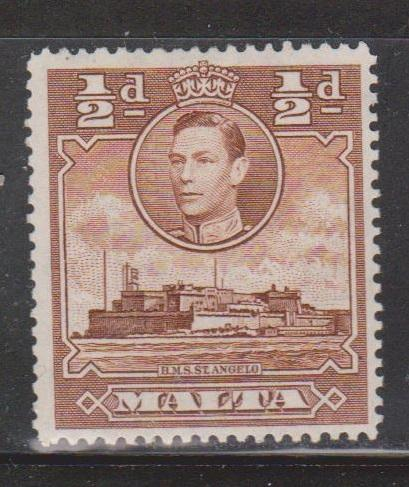 MALTA Scott # 192A MH - KGVI & Ship HMS St Angelo
