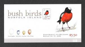 BIRDS - NORFOLK ISLAND #986a  PACIFIC ROBIN BOOKLET  MNH