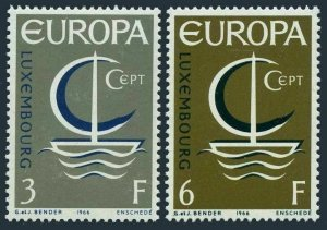 Luxembourg 440-441 two sets, MNH. Mi 733-734. EUROPE CEPT-1966. Symbolic Boat.