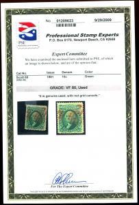 U.S. #68 Used PSE Cert Grade VF80 Red Cancel