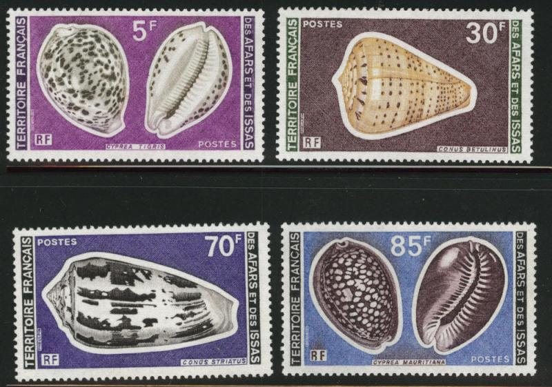 Afars and Issas Scott 433-436 MNH** key shell set