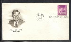 US #975 12 Will Rogers Fulton cachet unaddressed fdc