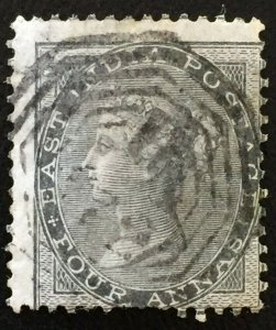 India QV Used Abroad 4a 1856-66 postmark B-172 Straits Settlements SG#Z76