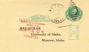 United States Idaho McCall 1953 numeral duplex  Postal Card  Printed Return A...