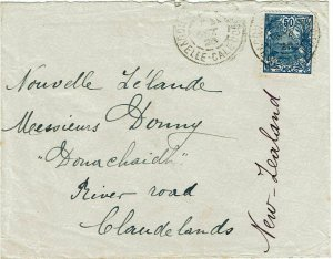 New Caledonia 1925 cover to new Zealand, franked Scott 107