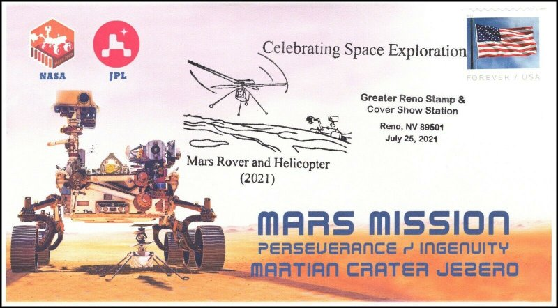 21-209, 2021, Mission to Mars, Event Cover, Pictorial Postmark, Reno NV,