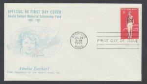US Planty C68-35 FDC. 1963 8c Amelia Earhart, Ninety Nines FIRST CACHET