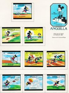 DISNEY ANGUILLA 559-567A MINT NH 1984 OLYMPICS DECATHLON