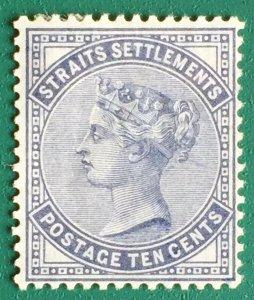 MALAYA 1882 Straits Settlements QV 10c Slate CC MH SG#49 M2678