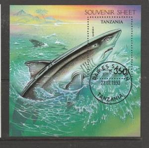 tanzania 1993 Sharks, short set to 150/- plus MS VFU/CTO SG 1665/70 & MS1672