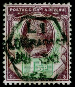 SG198, 1½d dull purple & green, USED.