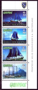Bosnia and Herzegovina. 1997. 87-90. Greenpeace sailing ships. MNH.