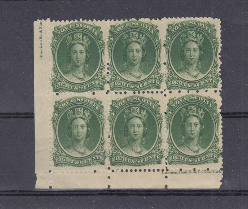 NOVA SCOTIA # 11 VF-MNH INSCRIPTION BLOCK OF 6 2(Gum Rubbing) CAT VALUE $500