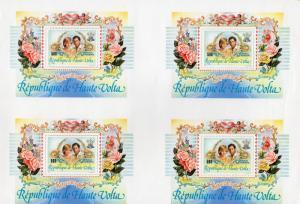 Upper Volta 1983 Sc#C277 Prince Charles & Princess Diana S/S BLOCK OF 4 UNCUT !!