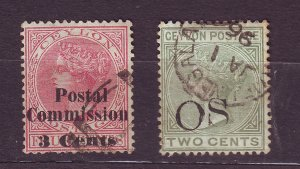 J23623 JLstamps 2 old ceylon used queen ovpt,s ??#
